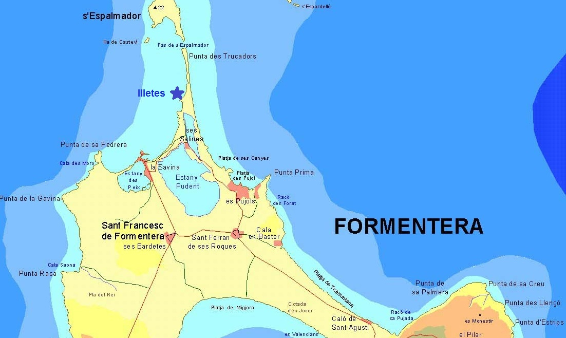 playa de ses illetes formentera mapa